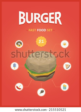 Burger fast foods set polygon style - stock vector
