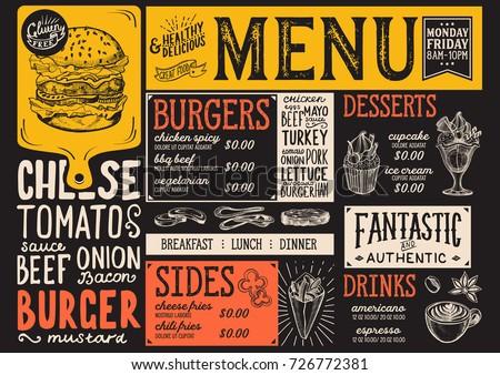 Burger Food Menu Restaurant Cafe Design Stock-Vektorgrafik 726772381 ...