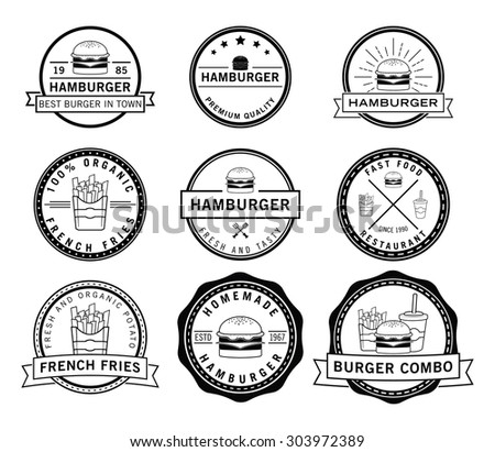 Burger,frenchfries & soft drink badge - stock vector