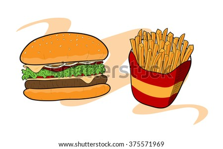 Burger & Fries, a hand drawn vector illustration of a burger and fries, isolated on a simple background (all objects are on their own separate groups, including background for easy editing). - stock vector