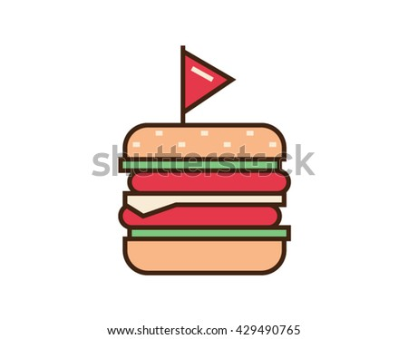 Burger icon. Fast food sign. Vector illustration isolated on white background