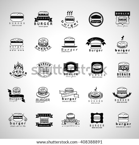 Burger Icons Set-Isolated On Gray Background-Vector Illustration,Graphic Design.Food Concept  - stock vector