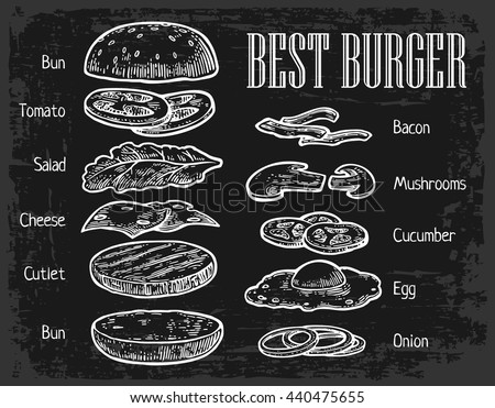 Burger ingredients on chalkboard. Isolated painted components on black background. Vector vintage engraving Illustration for poster, menu, web, banner, info graphic - stock vector