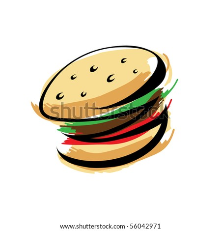 Burger isolated on white - stock vector