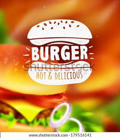 Burger label on blurred background - stock vector
