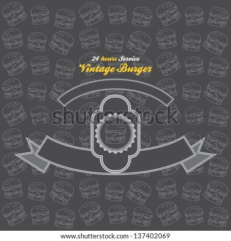 burger label sale - stock vector
