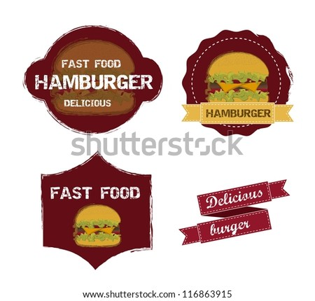 burger labels isolated over white background. vector illustration - stock vector