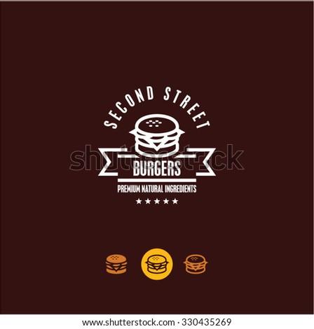 burger logo, burger icon, fast food, snacks - stock vector