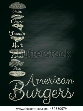 Burger Menu Poster on Chalkboard. Hamburger Ingredients. Place for Text. Vector Illustration. - stock vector