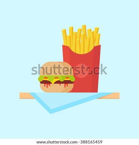 Burger or hamburger with fries in flat style. Burger and french fries isolated from the background. Fast food illustration.  - stock vector
