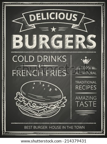 Burger poster stylized like sketch drawing on the chalkboard.Vector illustration.  - stock vector