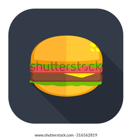 burger sandwich icon - stock vector