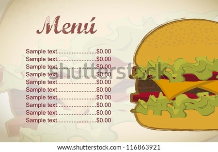 burger with meat over vintage background. vector illustration - stock vector