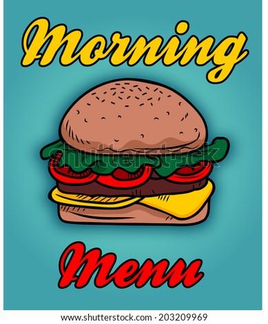 burger with morning menu - stock vector