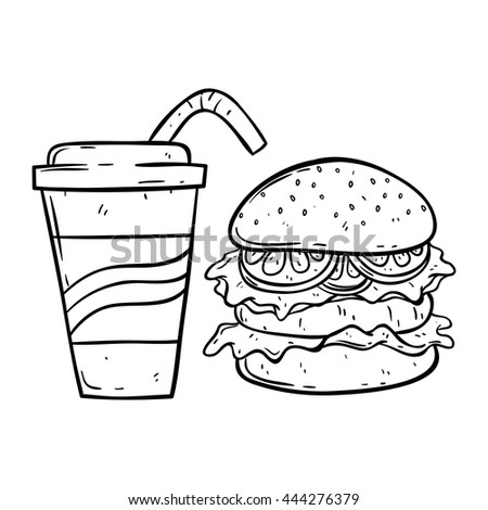 Burger with soda cup using doodle art