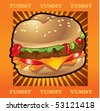 burger zoom out - stock vector