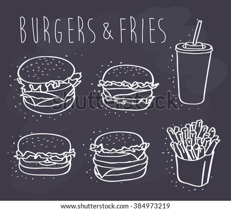 burgers and fries on chalkboard