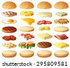 Burgers set. Ingredients: buns, cheese, bacon, tomato, onion, lettuce, cucumbers, pickle onions, beefs, ham. Vector icons isolated on white background - stock vector