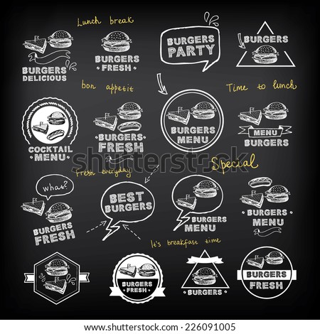 Burgers set of icons menu, vector illustration. - stock vector