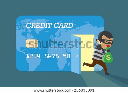 Burglar money from credit card and run away - stock vector