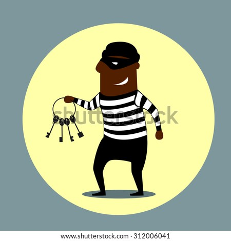 Burglar or thief carrying a set of keys with a gleeful evil smile, cartoon style - stock vector