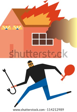 Burglar wearing ski mask carries a crowbar and bag of loot with burning house in the background - stock vector