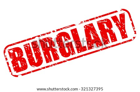BURGLARY red stamp text on white - stock vector