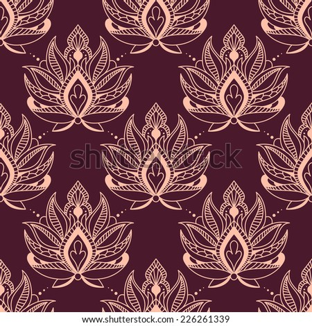 Burgundy and pink damask style floral seamless background pattern with ornate calligraphic motifs in square format for wallpaper and fabric design - stock vector