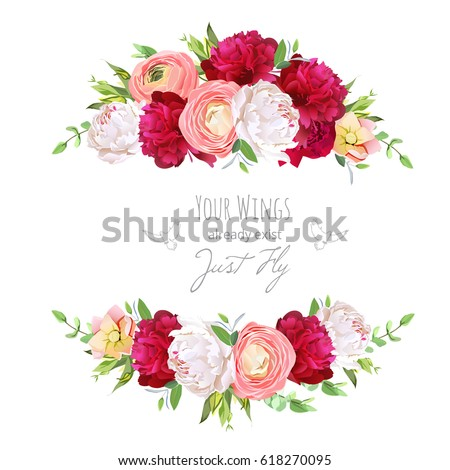 Luxury Floral Vector Round Frame Ranunculus Stock Vector 495885940