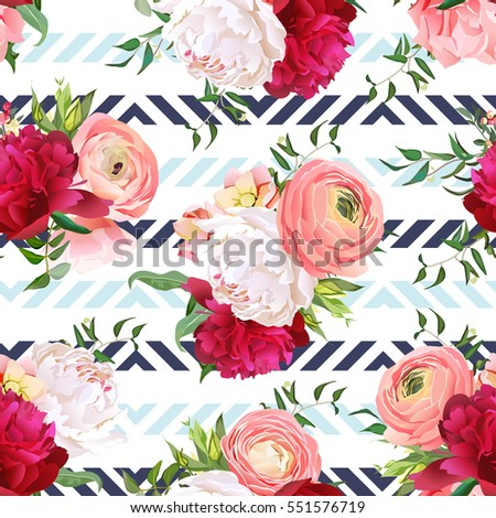 Burgundy red and white peonies, ranunculus, rose seamless vector pattern. Blue triangle striped elegant print with luxury bright flowers.
