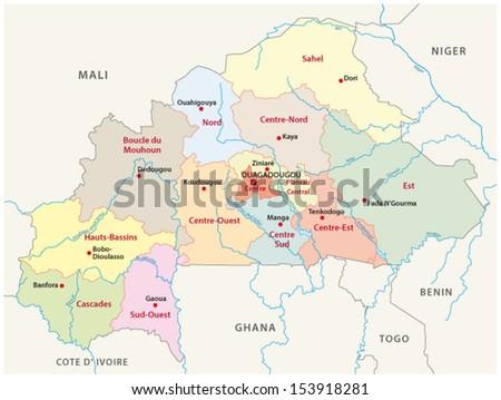 burkina faso administrative map - stock vector