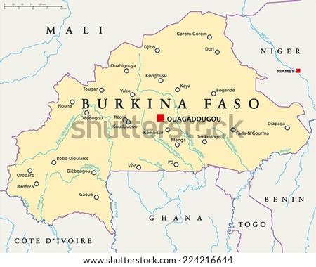 Burkina Faso Political Map Capital Ouagadougou Stock Vector HD