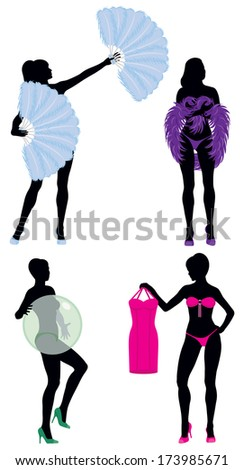Burlesque Women Silhouettes including feather fans, feather boa, bubble dancers and stripper holding dress.