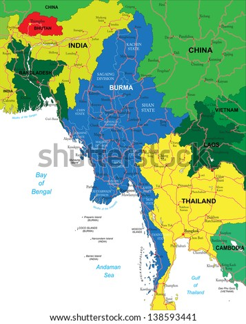 Burma map - stock vector