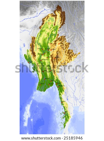 Burma (Myanmar). Physical vector map, colored according to elevation, with rivers and selected cities. Surrounding territory greyed out. 69 named layers, fully editable. Data source: NASA - stock vector