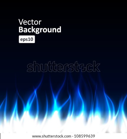 Burn flame blue fire vector background - stock vector