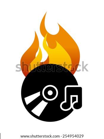 burn music design, vector illustration eps10 graphic  - stock vector