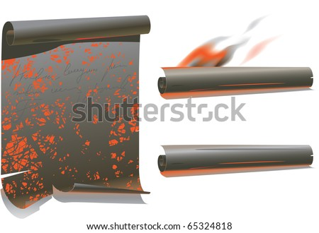 Burn Paper Parchment Scroll with rolled top and bottom edges. Gradient mesh has been used and has been converted for illustrator 8. - stock vector