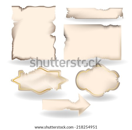 burned paper set - stock vector