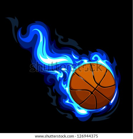 Burning basketball on black background. Vector illustration. - stock vector