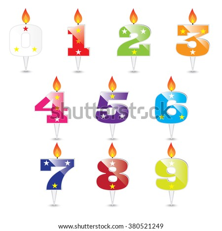 Burning birthday candles numbers isolated on white background - stock vector