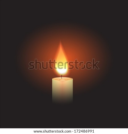 Burning Candle in the dark. Vector - stock vector