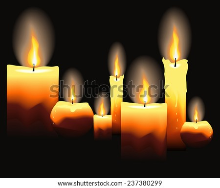 Burning candles on black background. Vector illustration.