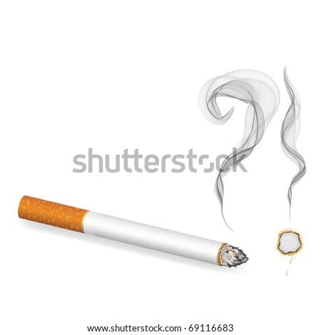burning cigarette banner, vector - stock vector