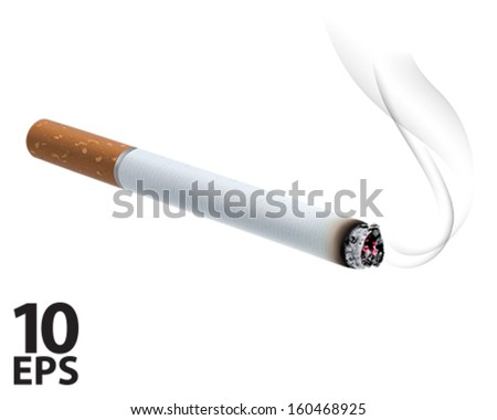 Burning cigarette. Vector illustration - stock vector