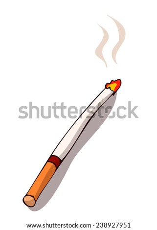 Burning Cigarette, Vector Illustration.  - stock vector