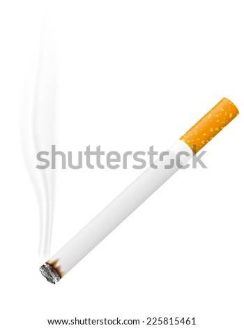 burning cigarette vector illustration isolated on white background - stock vector