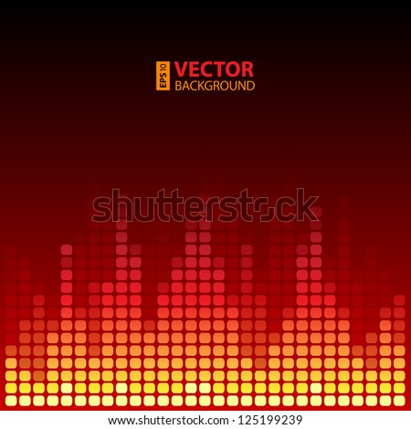 Burning digital equalizer background. RGB EPS 10 vector illustration - stock vector