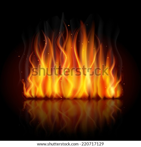 Burning fire campfire hot flame strokes realistic on dark background vector illustration - stock vector