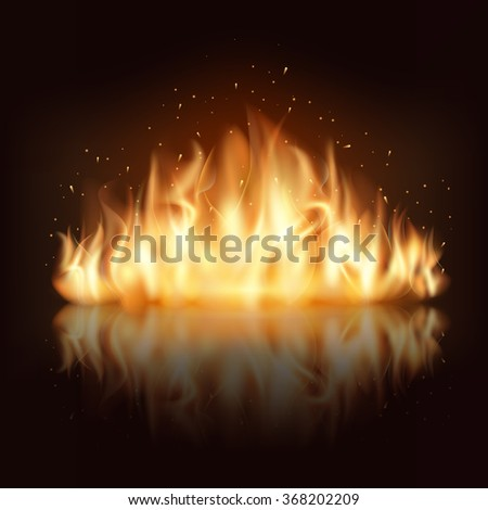 Burning fire flame. Burn and hot, warm and heat, energy flammable, flaming vector illustration - stock vector